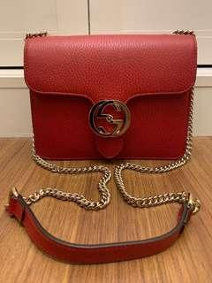 Gucci Interlocking Leather Chain Crossbody Bag