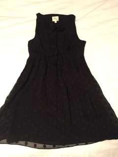 Milly London 100% Silk Black Polkadot Dress with Peekaboo