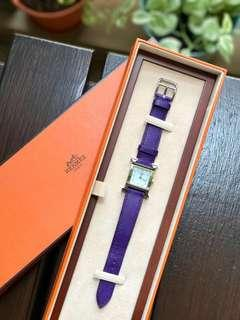 Authentic Hermes Heure H Watch in Purple Leather strap and Silver Hardware