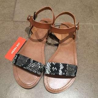 Joe Fresh Sandals Brand New Snake Print Leather