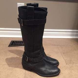 ECCO Black Genuine Leather Riding Knee High Boots with Buckle