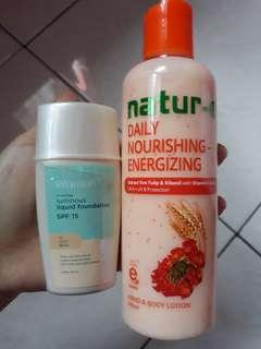 Foundation wardah + nature-e body lotion (bundling/satuan)