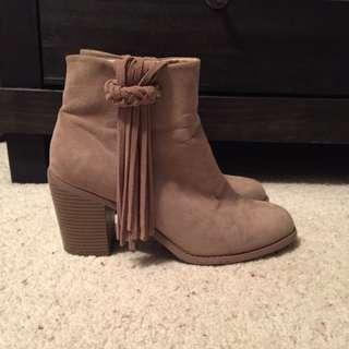 Faux Suede beige tan Ankle Boots with Fringe
