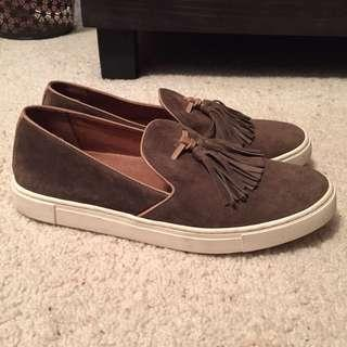 Frye Gemma Slip On Loafer Slide Sneaker with Suede Fringe