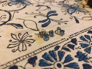 🚚 18k Aquamarine earring and pendant