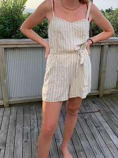 Glassons beige striped playsuit