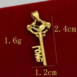 Vietnam Gold 24K Plated Necklace (Pendant + Chain) ~21st Birthday Key Sweet Heart Design