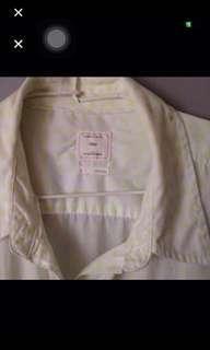 🚚 GAP棉100%長袖襯衫。L。可愛淡草綠色圓點