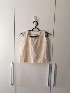 🚚 Beige Crop Top with Back Ribbon Tie