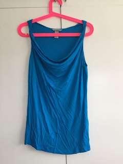 H&M Women's blue sexy cowl neck sleeveless top