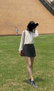 H&M米白色綢布上衣