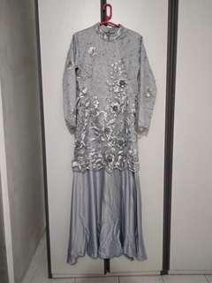 NEW! Gamis Dress Mermaid Pesta Lamaran Akad Nikah Kondangan Lace 3D full sampai belakang full furing
