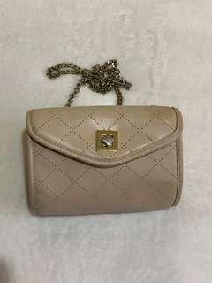 Cream chain sling bag