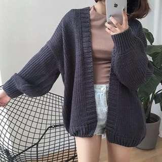 二手 韓版針織衫 寬鬆開衫外套 學生毛衣 灰色 百搭
