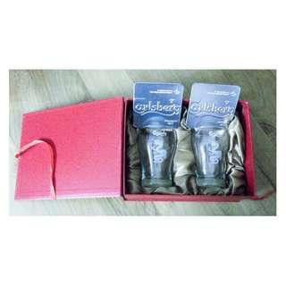 Box set of CARLSBERG BEER 2 clear Glasses and 2 Metal Coasters