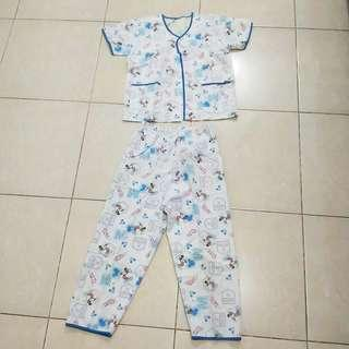 Baju Tidur Anak Unisex Piyama Mickey Mouse Biru Putih Celana Panjang Bekas Second Preloved Murah