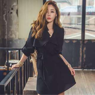 2034f273ba2 Chic Office Black Dress stylish trenchcoat Korean fashion trendy korea  women woman sexy conservative ladies girls