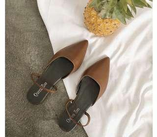 Brown Pointed Mules Flats