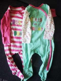 2 Mothercare sleepsuits
