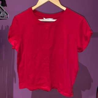 red cropped top