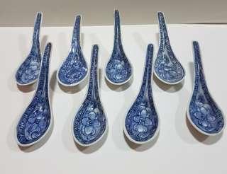Peranakan blue & white spoon