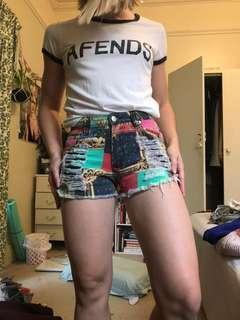 MINKPINK patch high waisted ripped denim shorts XXS