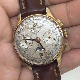 Triple date Calendar Moonphase Chronograph watch