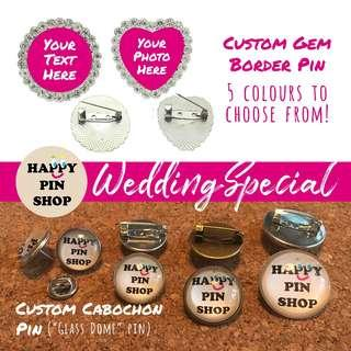 Custom Wedding Pins - Cabochon
