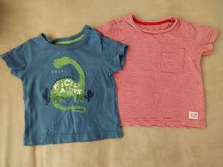 (Free Normal Mail)Pre❤ Mothercare Tops 2pcs for $7 (6-9mths blue, 9-12mths red)