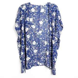 Patrons of Peace blue floral boho open front cardigan festival summer XS S M