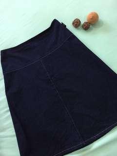 Agnes B Denim Midi Skirt