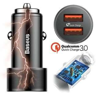 Baseus 36W Dual USB Quick Charge QC 3.0 Car Charger