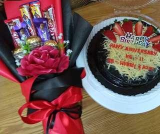 Chocolate bouquet surprise package with cake/brownies