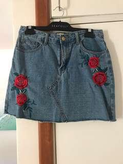 Denim skirt with embroidery