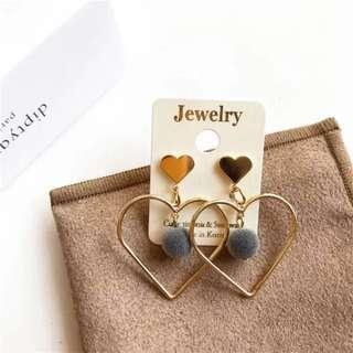 🚚 korean S925 silver needle heart shap earring ear drop