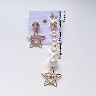 🚚 crystal pearl star love heart earring ear drop korean S925 silver needle