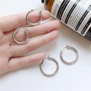圓圈 銀色鏤空耳環(兩副一起賣)