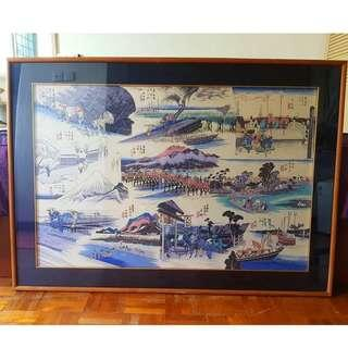 JAPANESE BLUE SILK PAINTING & Framing byFramingAngie