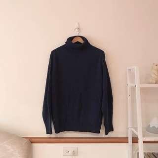 正韓高領寬鬆羊毛毛衣-藍
