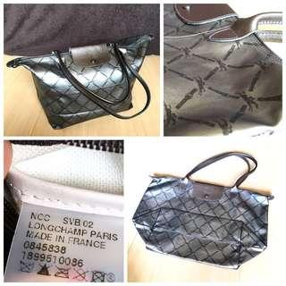 Authentic Longchamp Maroquinerie LM Large Tote in Dark Silver Gray