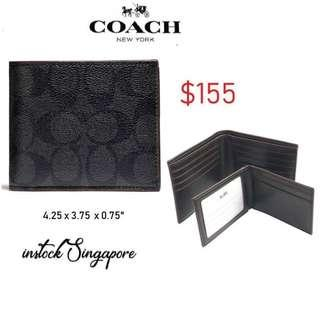 READY STOCK authentic new COACH COMPACT ID WALLET (COACH F25519) BLACK/BLACK/OXBLOOD