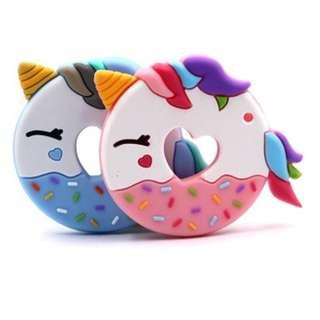 🚚 New Baby Infant Food Grade Teething Teether Unicorn Donuts Toy