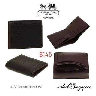 Instock READY STOCK authentic new  Coach SLIM COIN WALLET IN BUFFALO EMBOSSED LEATHER (COACH F11989)