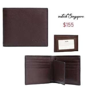 READY STOCK authentic new COACH F74991 Compact Id Wallet brown