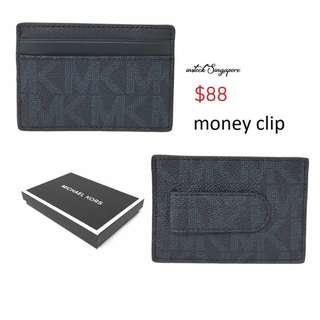 READY STOCK authentic new Michael Kors Men's Credit Card Case With Money Clip Wallet