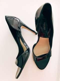 Zara Vinyl Black Heels