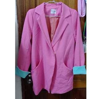 🚚 【二手出清】粉紅粉綠撞色西裝外套-M~L可穿 #半價衣服市集