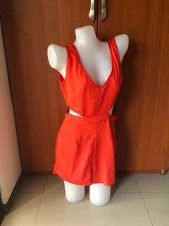 Orange w/sexy side cutouts romper