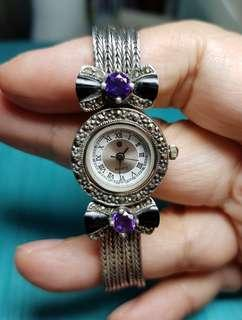 🚚 Beautiful Vintage Amethyst & Onyx Ladies Watch with Marcazite on 925 Silver