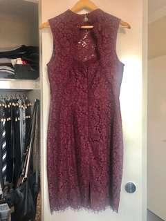 Portman's wine colour lace dress - size 10